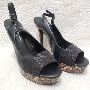 Jessica Simpson | Black & Snake Skin Heels